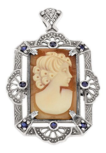 (Lovely Italian Shell Cameo Pin or Pendant with Blue Sapphires - Sterling Silver)
