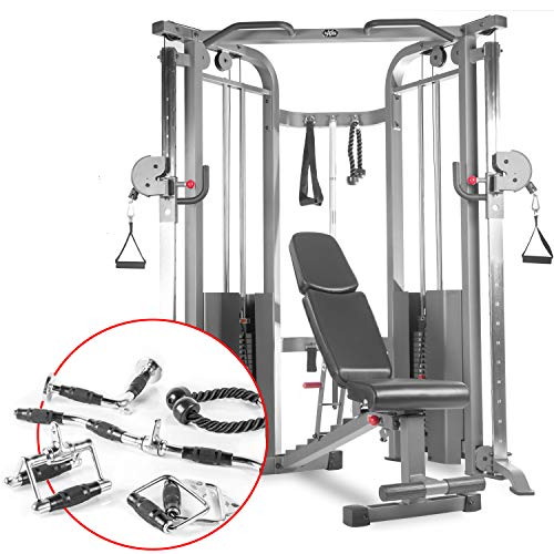 XMark Functional Trainer Cable Machine, Dual 200 lb Weight Stacks, Optional Upgraded Accessory Package and Adjustable FID Weight Bench