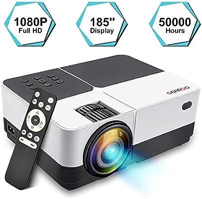 Proyector Portátil, GEARGO Mini Proyector Full HD 1080P 2800 Lúmenes, Multimedia Home Theater con HDMI x2, VGA, SD, USB, AV para Cine en Casa, ...