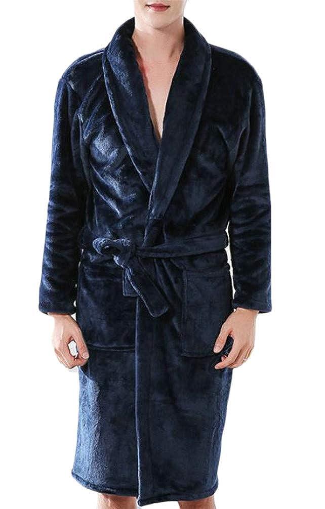 Hajotrawa Mens Flannel Pocket Belt Thicken Sleep Shawl Collar Sleep Robe