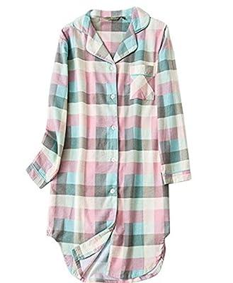 Asherbaby Womens Classic Plaid Sleepshirt Button-up Shirt Dress Lounge Sleepwear