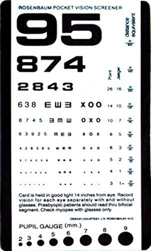 Away Eye (Pocket Eye Chart 14 inch Rosenbaum Pocket Vision Screener Card 6 3/8