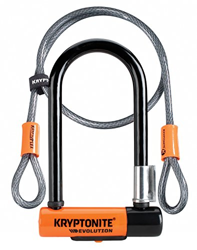- Kryptonite Evolution Mini-7 13mm U-Lock Bicycle Lock with FlexFrame-U Bracket & KryptoFlex 410 10mm Looped Bike Security Cable