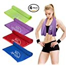 """4 Piece Cooling Towel Set (36""""x12"""") Soft Microfiber Towel or Headband for Sports, Fitness, Running, Cycling, Gym, Crossfit, Hiking, Yoga, Hot Flash Relief (Blue, Red, Green, Violet)"""