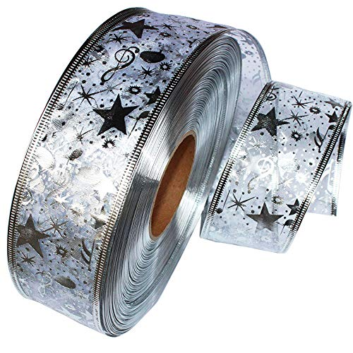 HighlifeS Christmas Ribbon, Assorted Sparkling Decorations Wired Sheer Glitter Tulle Ribbon 2 Meters - Floral Poinsettia Plaid Gold - Ribbon Poinsettia