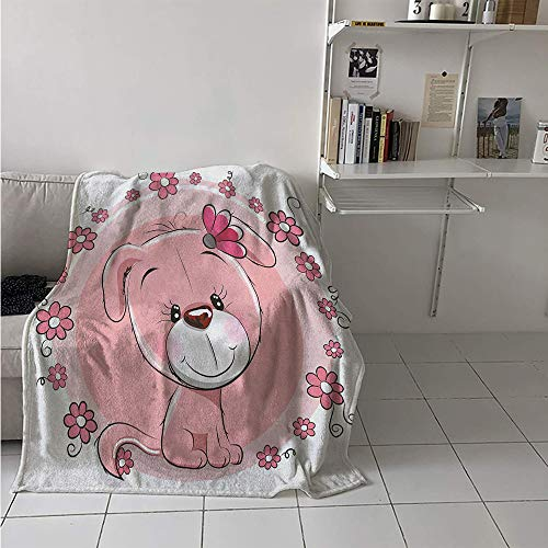 Super Soft Lightweight Blanket, Cute Little Puppy with Daisy Flowers Cheerful Adorable Domestic Pet Girls, Custom Design Cozy Flannel Blanket 70x50 Inch Pale Pink Coral White