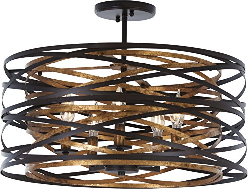Minka Lavery Farmhouse Semi Flush Mount Ceiling Light 4671-111 Vortic Flow Lighting Fixture, 5-Light 300 Watts, Dark -
