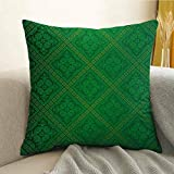 Microfiber Sofa Cushion Cover Bedroom car Decoration Vector Illustration Seamless Pattern of Foliage Wallpaper Pattern Artwork Print W16 x L16 Inch Forest Green