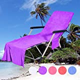TAOtTAO Chair Beach Towel Lounge Chair Beach Towel Cover Microfiber Pool Lounge Chair Cover With Pockets Quick Drying 82.5''X27.5'' (A Purple)