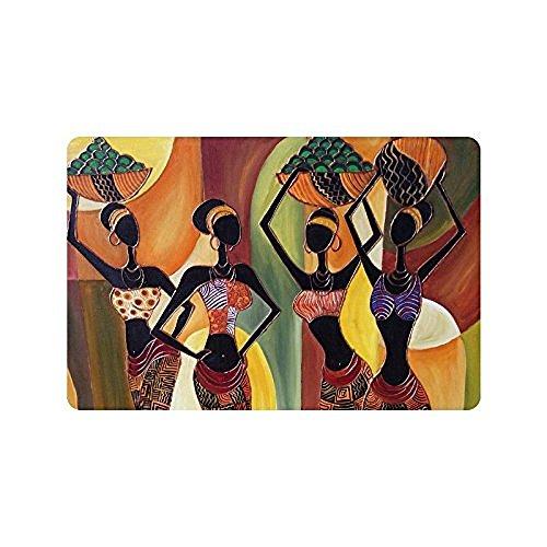 DENSY Door Mats Oil Painting Art African Woman Machine Washable Doormat Mat Bathroom Kitchen Decor Area Rug/Floor Mat 23.6 X 15.7 Inch