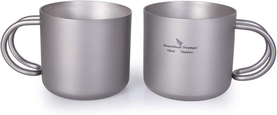 iBasingo 100 ml Titan Doppelschicht Wasser Tee Tasse Set Im Freien Innen Wein Kaffee Trink Becher Camping Picknick T/ägliches Trinkgeschirr Heimgebrauch
