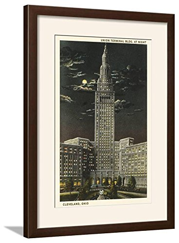 ArtEdge Moon Over Union Terminal Cleveland Ohio Framed Print, 22x29, Brown Frame-White Mat