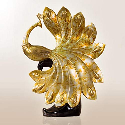 YOTATO Modern Phoenix Abstract Sculpture Peacock Resin Statue Imitation Bronze Animal Home Decoration Crafts (Silver Bronze Statue)