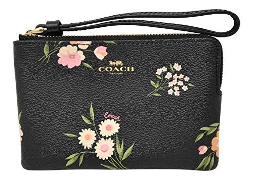 (Coach Corner Zip Wristlet Pouch Bag Black Pink Daisy )