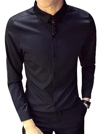 Men Button Long Sleeve Shirt Tops T-Shirt Blouse Casual Formal Slim Shirt Tops