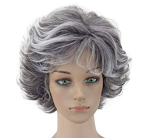 WFWJD European and American Wigs, Ladies Short Curly Hair, Gray and White
