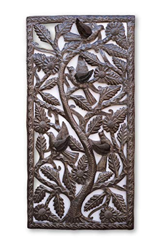 Tree of Life, Large Metal Wall Art Sculpture, Handmade in Haiti from Recycled Oil Drums 18 x 34 Inches