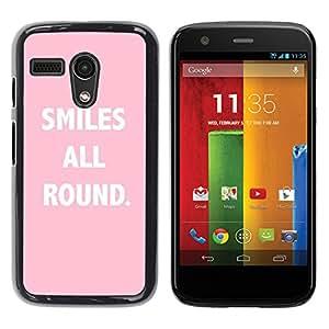 YOYOYO Smartphone Protección Defender Duro Negro Funda Imagen Diseño Carcasa Tapa Case Skin Cover Para Motorola Moto G 1 1ST Gen I X1032 - sonríe todo el texto rosado ronda de inspiración