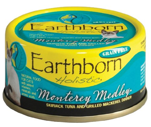 Earthborn Holistic Monterey Medley Skipjack Tuna and Grilled Mackerel Dinner Wet Cat Food, 3-Ounce Can, 24-Pack, My Pet Supplies