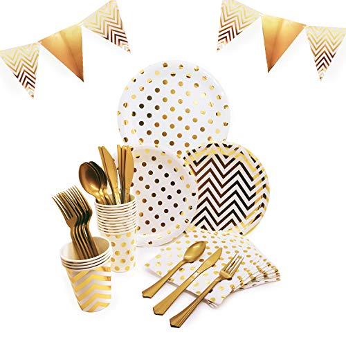 145 Piece Gold Party Supplies Set | Disposable Dinnerware Set | Polka Dot and Chevron Styles | Services 24 with Gold Cutlery Includes Plastic Knives, Spoons, Forks, Paper Plates, Napkins, -
