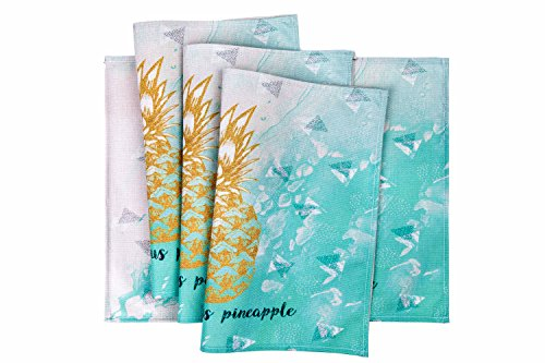HONEYJOY 4 Pcs Washable Cotton Linen Placemats Textile Rectangle Heat-resistant Non-slip Non-fading Decorative Dining Table Mats Set for Home Kitchen Office Pineapple Pattern Green (13'' x 17'') by HONEYJOY (Image #4)