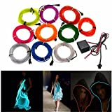 Led Strip Lights - 4m 10 Colors 12v Flexible Neon El Wire Light Dance Party Decor Light - Neon El Wire Light Car Blue Pink Lights Battery Rope Painting - 1PCs