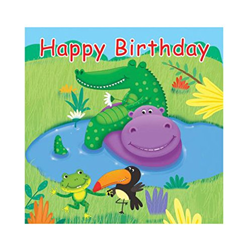 16-Count Paper Lunch Napkins, Jungle Buddies Happy Birthday