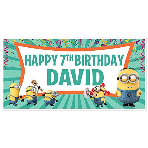 Despicable Me Minions Birthday Banner Personalized Party Decoration Backdrop]()