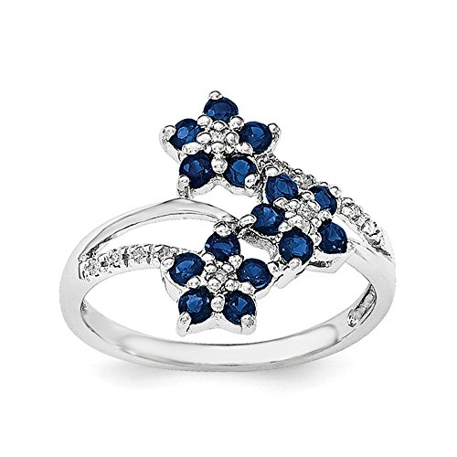 Sterling Silver 3 Flower Sapphire and Diamond Ring - Size 6