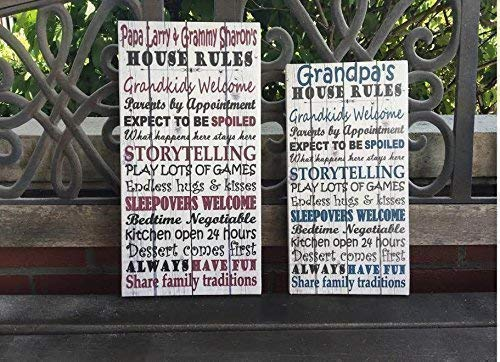 Grandparents Personalized Sign, Personalize Names For FREE, BEST Christmas Gift, Custom Canvas, Grandparents House Rules, Nana, Papa (Grandparent Gifts Personalized)