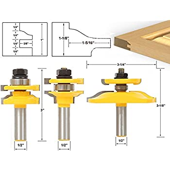 AccOED 3pcs 1/2u0027u0027 Shank Door Panel Woodworking Cutter Tool Cabinet Router Bits  sc 1 st  Amazon.com & AccOED 3pcs 1/2u0027u0027 Shank Door Panel Woodworking Cutter Tool Cabinet ...