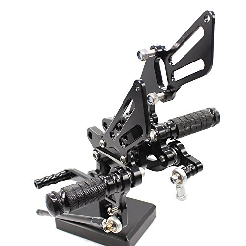 FXCNC Motorcycle Rearsets Rear Foot Pegs CNC Rear set Footrests Fully Adjustable Rear Foot Boards Fit for KAWASAKI ZX10R 2006 2007 2008 2009 2010 Black