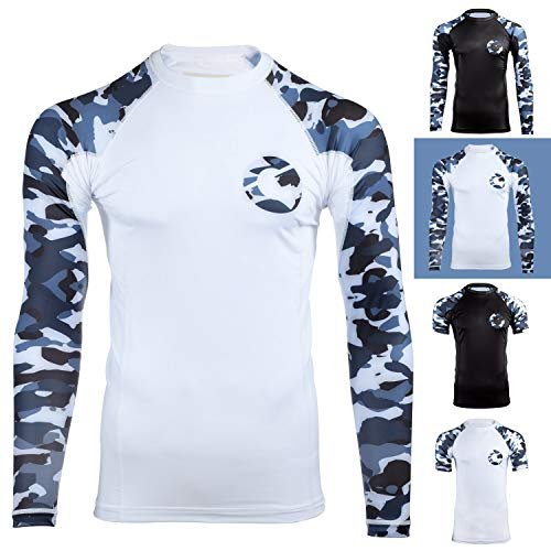 Gold BJJ Jiu Jitsu Rashguard - Camo Long Sleeve Rash Guard Compression Shirt for No-Gi, Gi, MMA (White Camo, S)