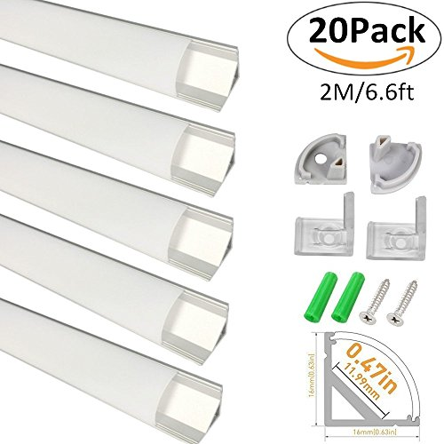 LightingWill 20-Pack V-Shape LED Aluminum Channel System 6.6ft/2M Anodized Silver Corner Mount Profile for <12mm width SMD3528 5050 LED Strips with Curved Cover, End Caps and Mounting Clips V02S2M20 by LightingWill (Image #8)