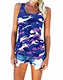 camouflage tank for women - Beautife Women Casual Plus Size Shirt Camouflage Sleeveless Tank Tops (XX-Large, Blue)