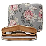 KAYOND White Rose Pattern Water-resistant 12.5 inch 13 inch Canvas laptop sleeve with pocket for 13.3 inch laptop case macbook air 13 case macbook pro 13 sleeve ipad 12.9