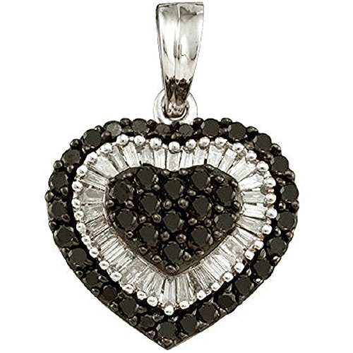 1.09 Ct Heart (1.09 Carat (ctw) 14k White Gold Round & Baguette Cut Black & White Diamond Ladies Heart Pendant)