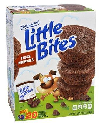 - Entenmann's Little Bites Muffins 20 Pouches/80 Muffins Bonus 1 Individual Entenmann's Apple Pie (Fudge Brownie)
