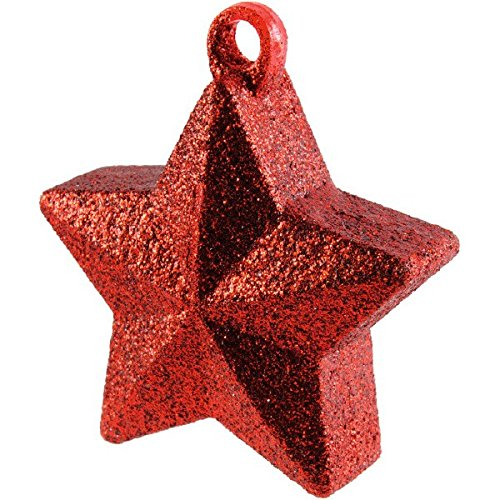 Twinkle Star Glittered Balloon Weight Party Decoration, Red, Plastic Foil , 6.0 Ounces (6 Ounce Star Weight)