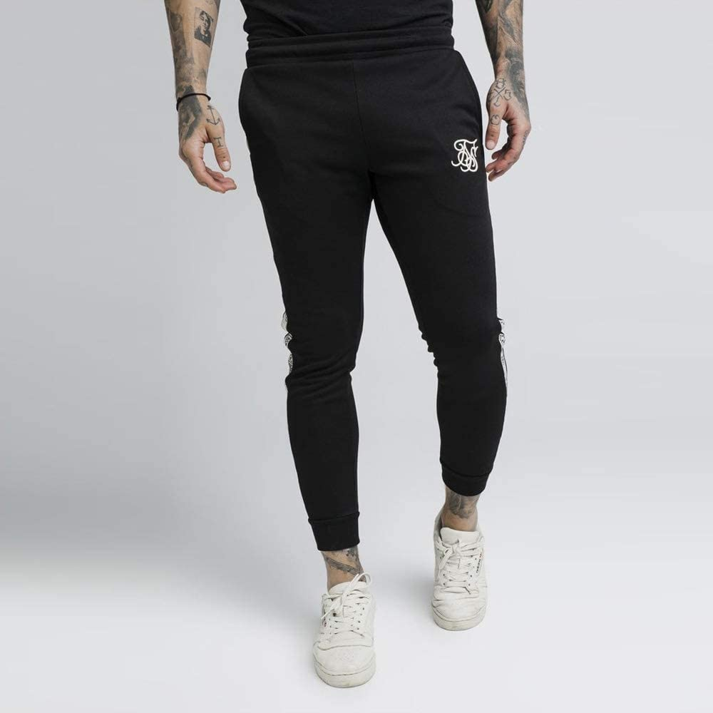 SikSilk Cuffed Runner Sweatpant in Black