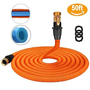 Tacklife 50ft Garden Hose, Innovative 2018 Leakproof Patent Connector Lightweight Expandable Water Hose, Durable Double Latex Core, Solid Brass Fittings, Free Net Bag, 3 Extra Rubber Gaskets - Orange