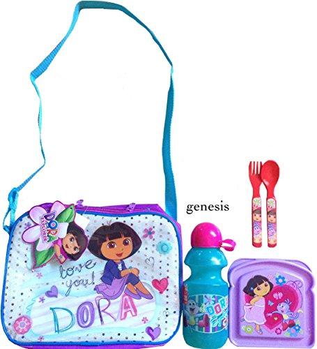 Dora The Explorer Insulated Shoulder Strap Lunch Bag With Dora The Explorer 3 Pc Lunch Kit Back To School Specials