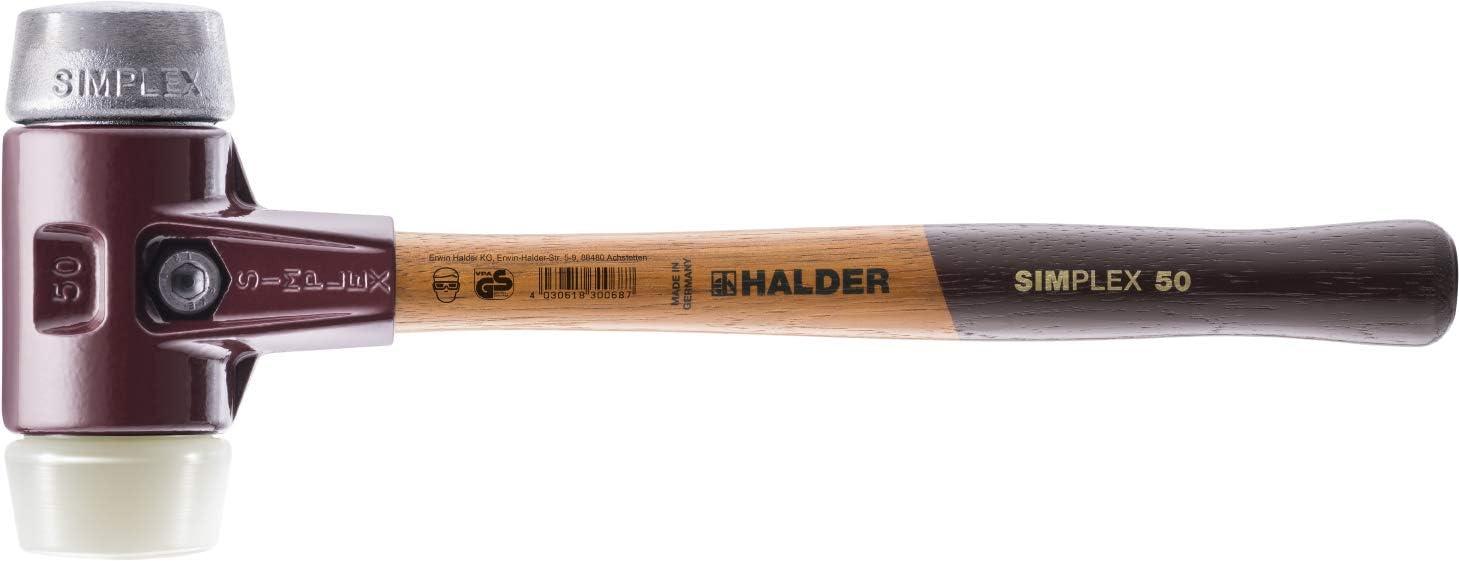 40 mm Halder 3089040 Simplex Maillet de Nylon//M/étal mou Multicolore