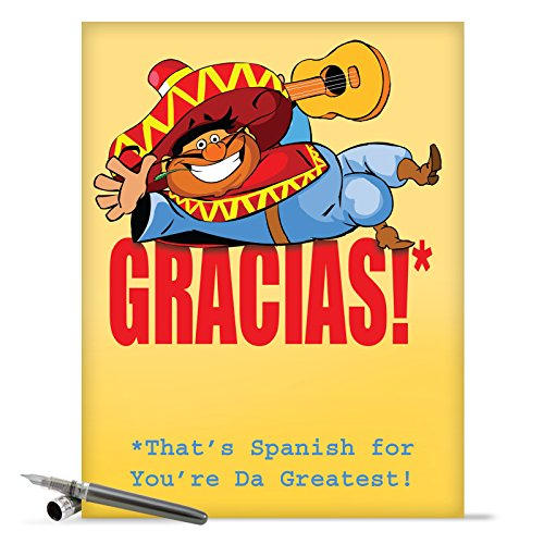J9100 Jumbo Funny Thank You Card: Gracias With Envelope (Extra Large Version: 8.5'' x 11'')
