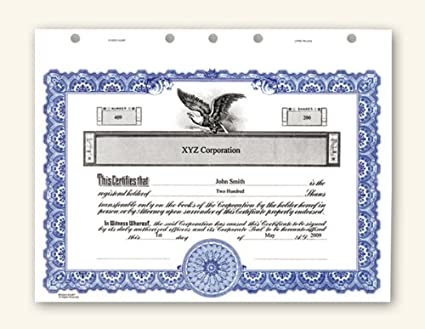 Amazon.com : Corporate Stock Certificates : Blank Certificates ...
