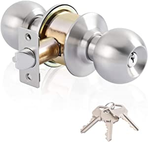 Keyed Entry Door Lock,Ball Door knobs with Lock and Key,Entrance Lever Door Handle (Privacy/Passage) in Satin Stainless Steel