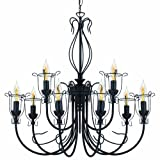 Globe Electric 64059 Laila 9 Lamp Chandelier Light Fixture, Black