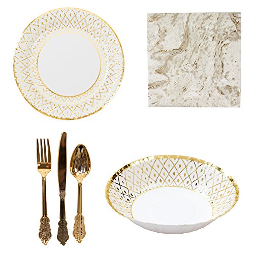 Talking Tables Porcelain Gold Partyware Collection for Weddings, Anniversaries, Stylish Buffets & Parties | Paper Plates, Bowls, Napkins & (Porcelain Collection Paper)