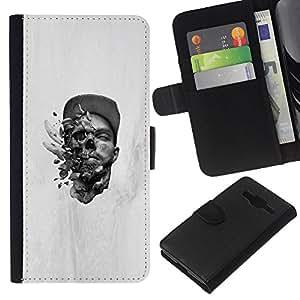 KLONGSHOP // Tirón de la caja Cartera de cuero con ranuras para tarjetas - Cabeza explosiva - Samsung Galaxy Core Prime //