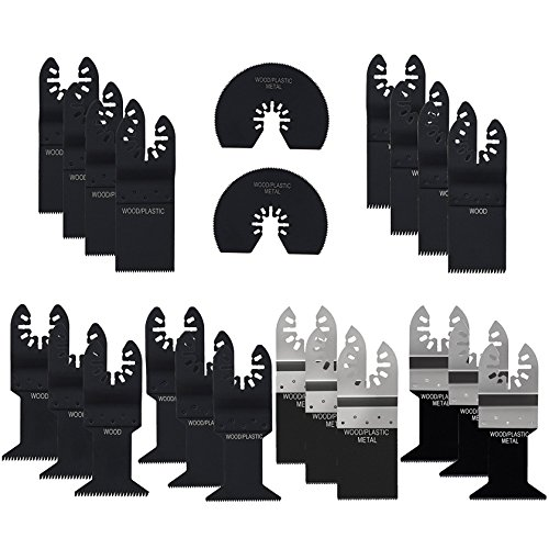 22 Multitool Oscillating Saw Blade, Lichamp 20pcs Mixed Precision Quick Release Multi Tool Saws Blades Set for Metal Wood Plastic, E-cut Blades Fit Bosch Black & Decker Fein Multimaster and More